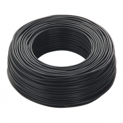 Round Electric Cable covered rubber solid color black
