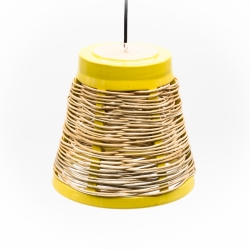 large yellow wicker lamp and natural willow